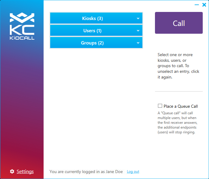 KioCall: Main Screen
